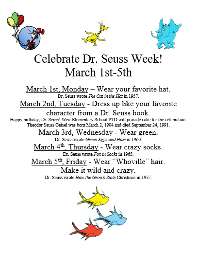 Weir Celebrates Dr. Seuss Week