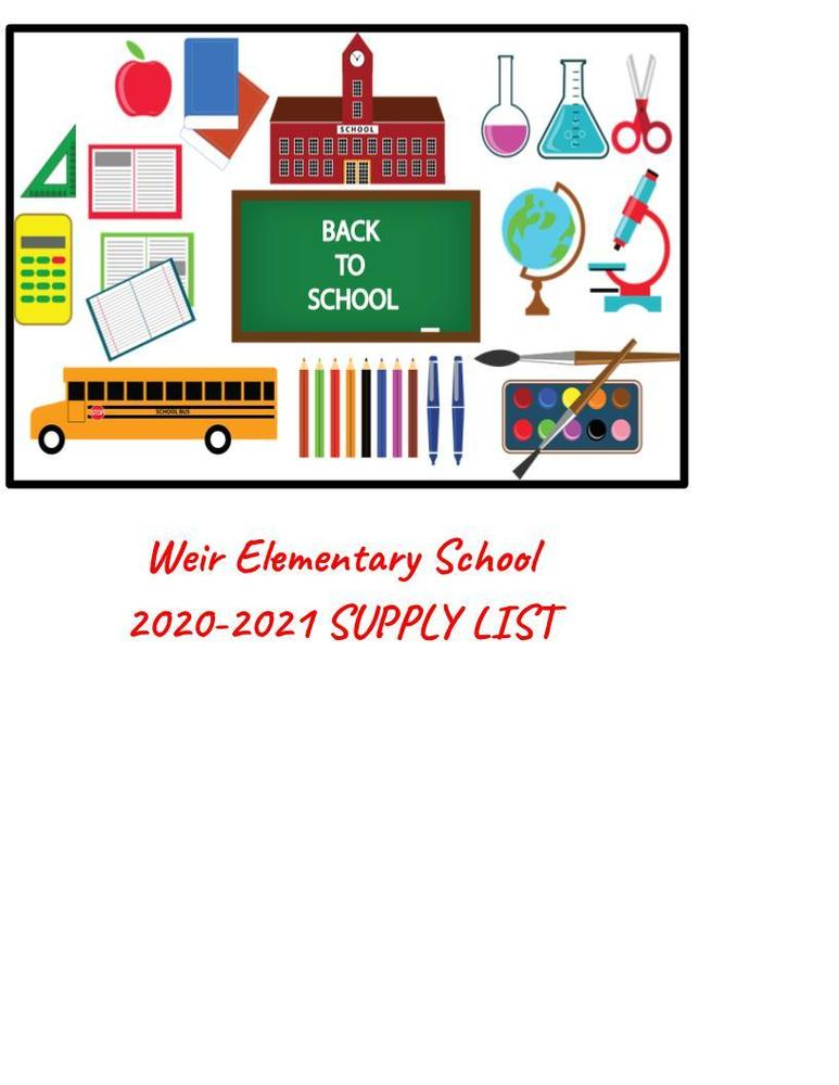 Weir Elementary School 2020-2021 Supply List