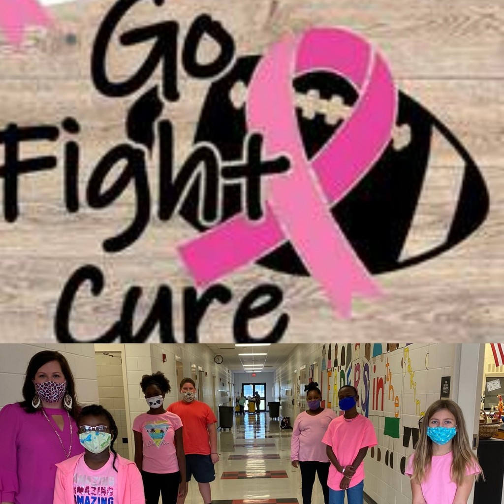 "Mrs. Hunt's ""Pink-Out Day"" 5th Grade Students say!"" GO,Fight,Cure """