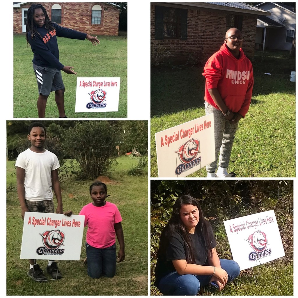6th graders in Mrs. McKnight's class are enjoying their yard signs from WES! We love our Chargers!!
