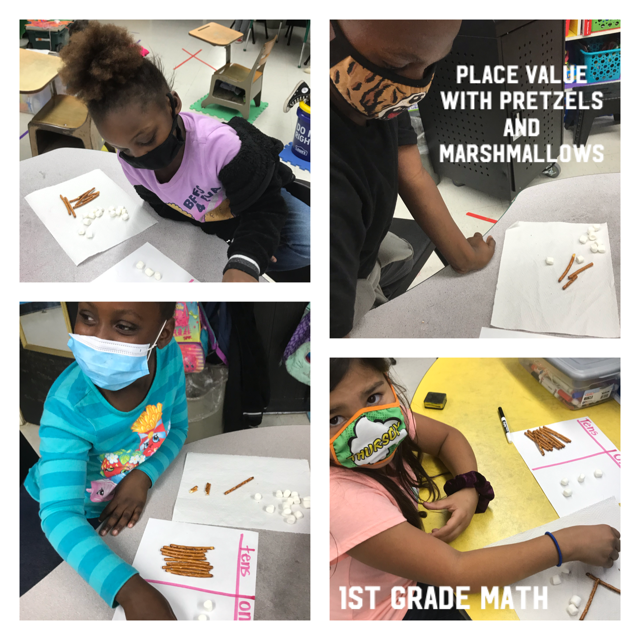 1st grade students are learning place value - using pretzel sticks.
