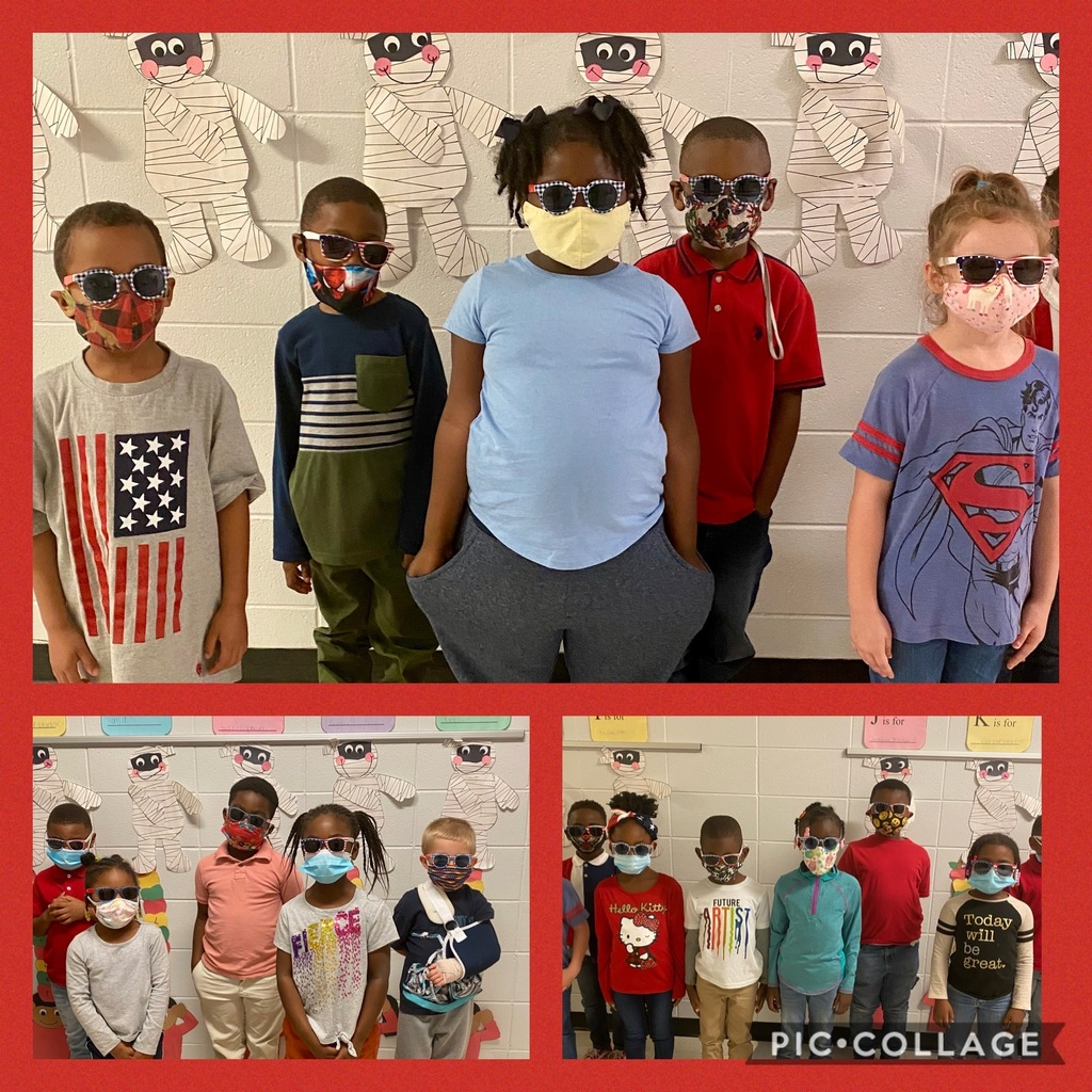 "Students in WES Kindergarten are wearing their patriotic shades because they are ""Too Cool for Drugs."""