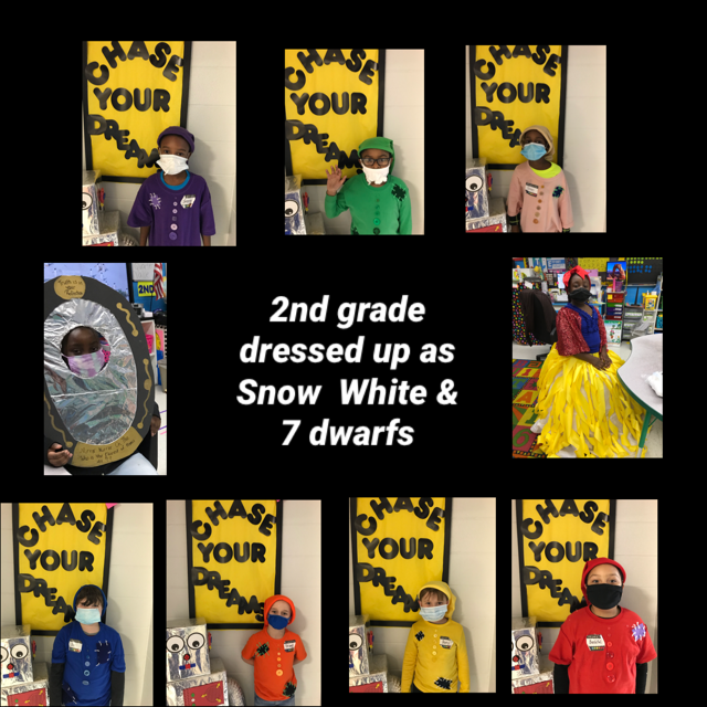 2nd-grade students dressed as the characters in the book Snow White and the 7 Dwarfs.  #WeirExcellenceShines!