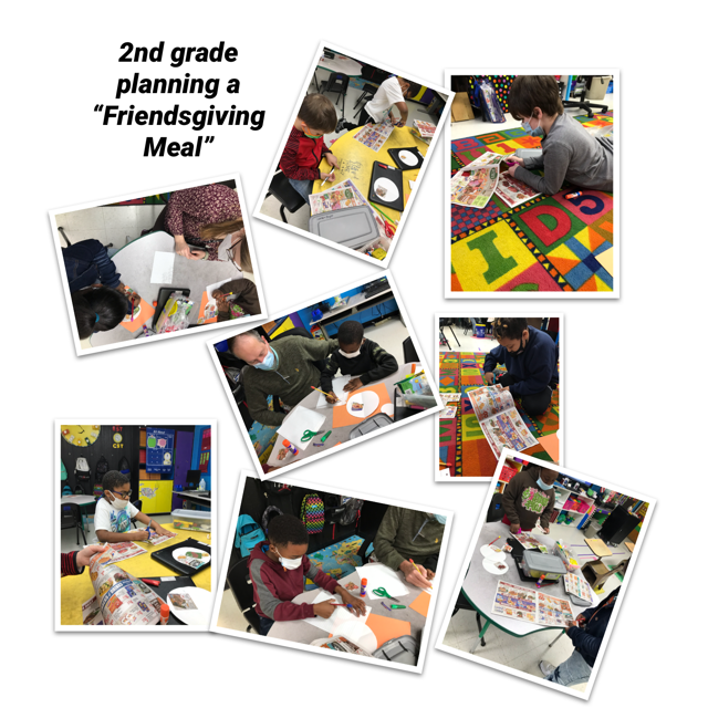"WES 2nd Grade students are using their addition with regrouping to add their grocery bill for their ""Friendsgiving Meal""."