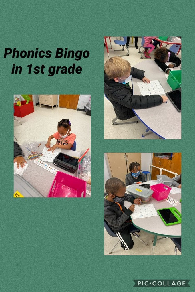 First grade students from WES enjoy learning about phonics by playing Bingo.
