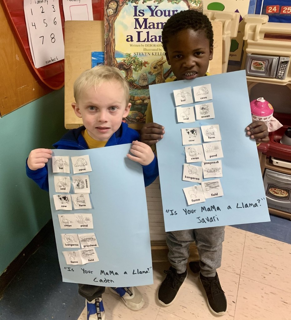 "Caden and Javari, Pre-K students at French Camp Elementary, enjoyed exploring the characters' environments in the story ""Is Your Mama a Llama?"""