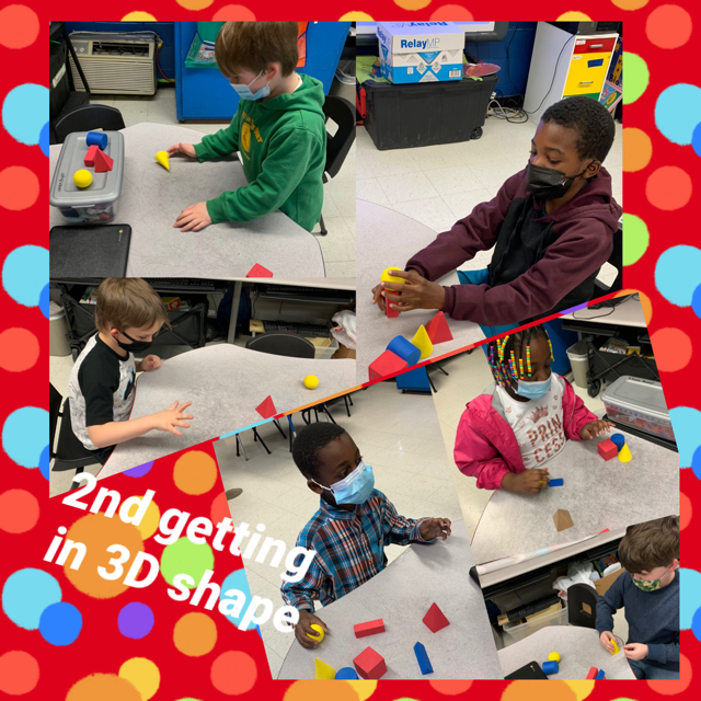 WES 2nd grade students are learning about the attributes of 2D& 3D shapes: vertices, faces, edges, sides, and all of the names of new shapes hexagonal prism, triangular prism, and rectangular prism.