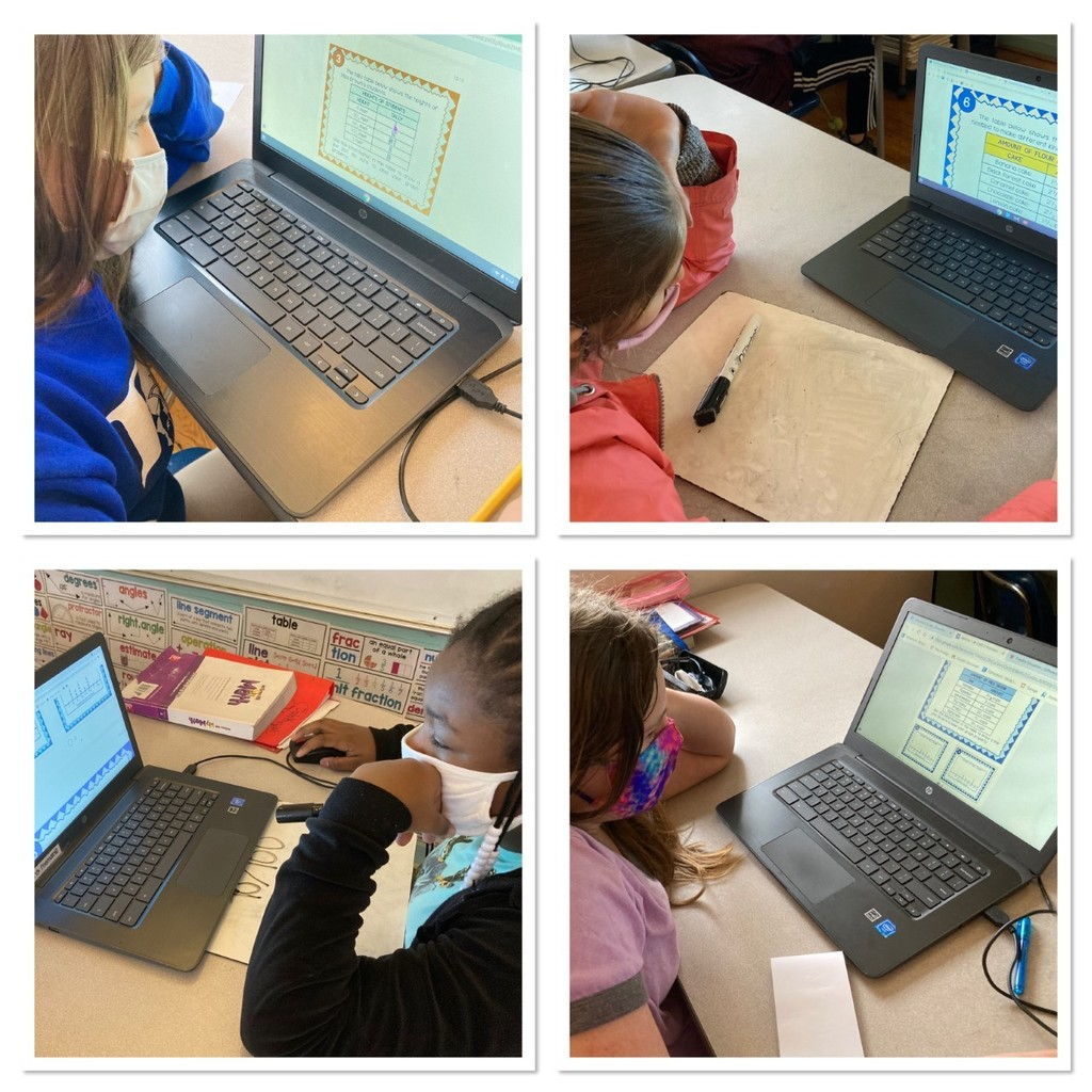 Fifth graders at FCE are working hard this morning on their Measurement and Data digital task cards.