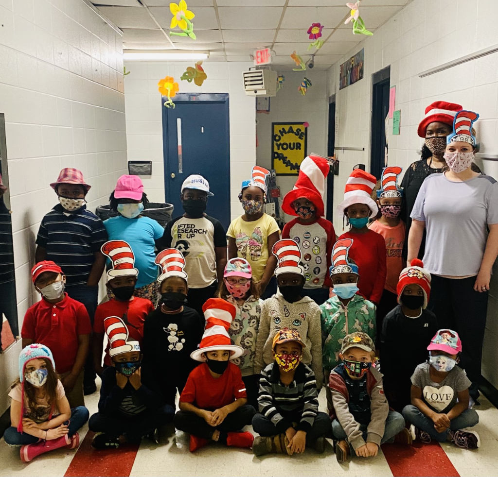 "Mrs. Conerly's and Mrs. McKnight's class enjoyed reading and doing activities with ""The Cat and the Hat. """