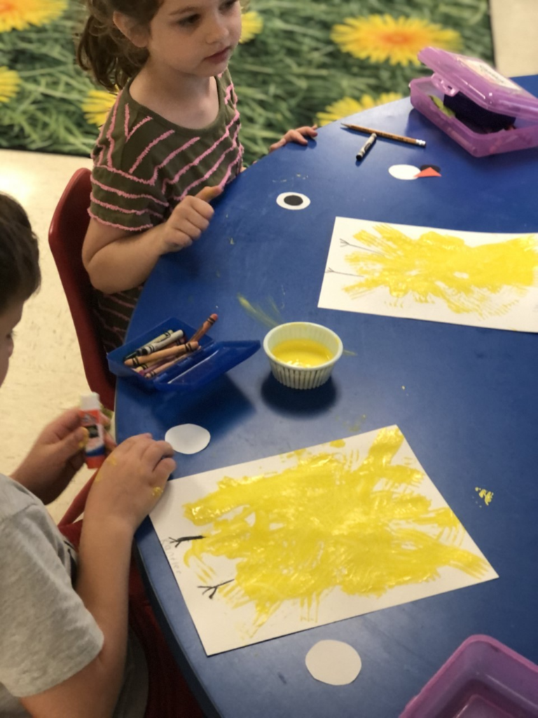 FCE kindergarten is enjoying creating Easter crafts and practicing their writing skills this week!