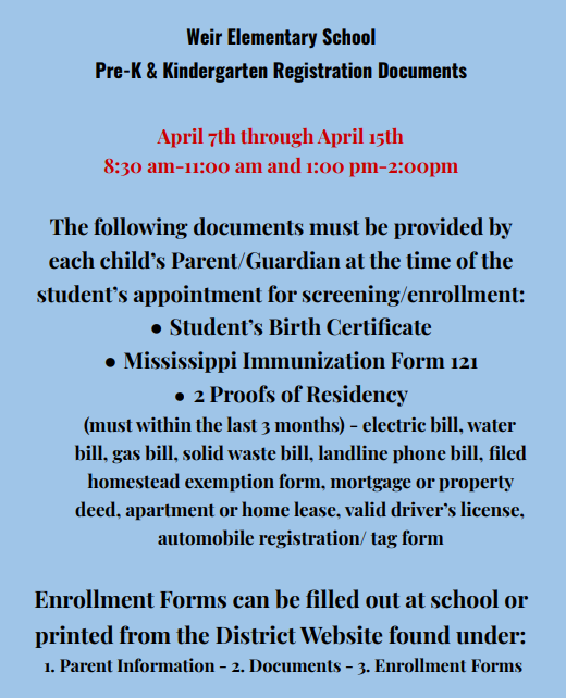 Weir Elementary School PreK and Kindergarten Registration for 2021-2022 School Year