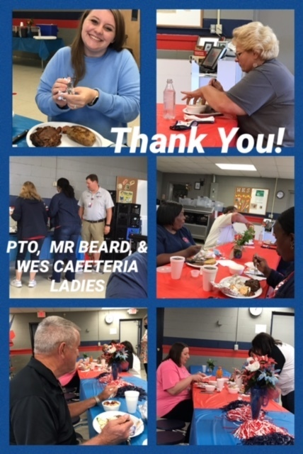 WES Teacher Appreciation from the PTO Coach Beard and the Cafeteria Ladies