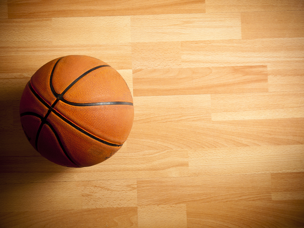 Basketball on hardwood