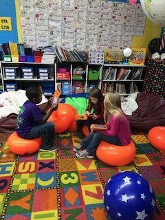 Students have an option of bean bags or donuts...today they got new seats.  So, they chose donuts!