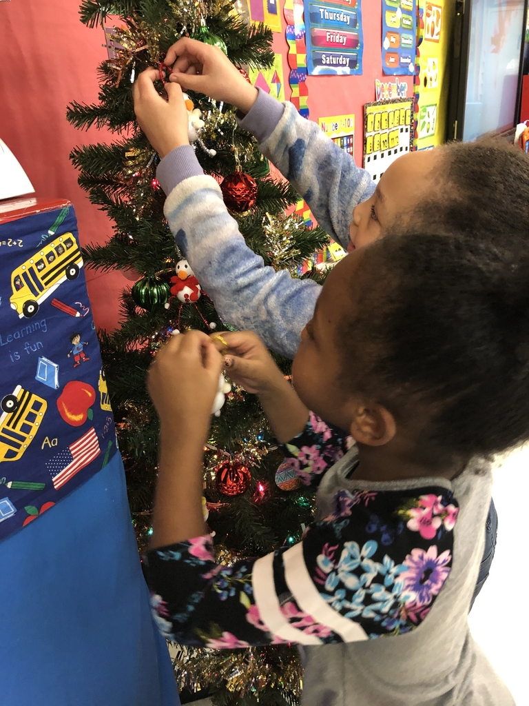 Wes students putting ornaments on a tree