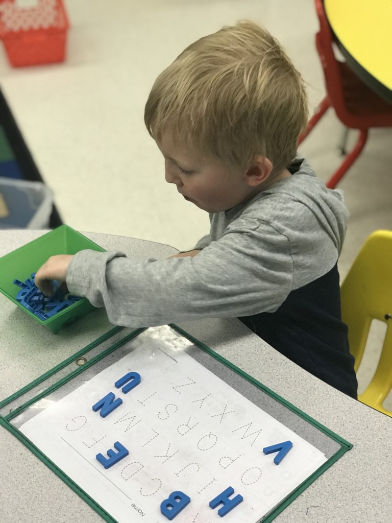 WES Pre-K Students working at their learning centers