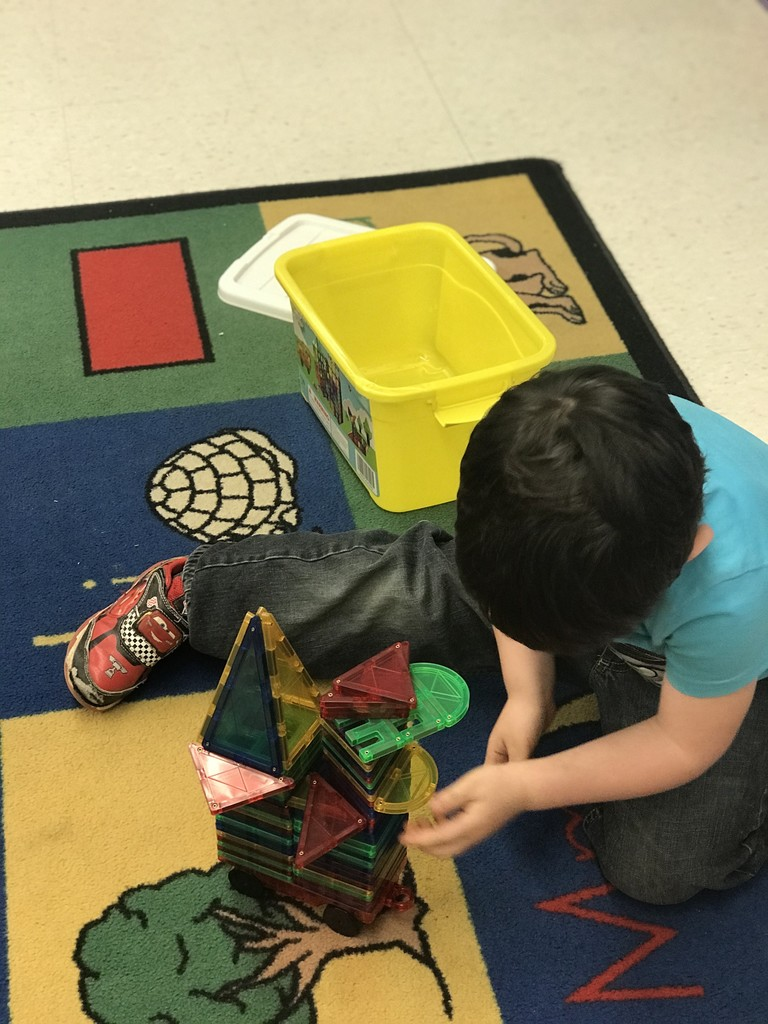 WES Pre-K working at their learning centers
