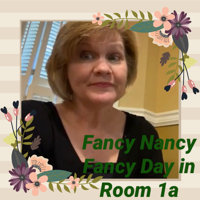 "Mrs. Wise is reading ""Fancy Nancy, fancy Day in Room 1a"" with permission from Scholastic"