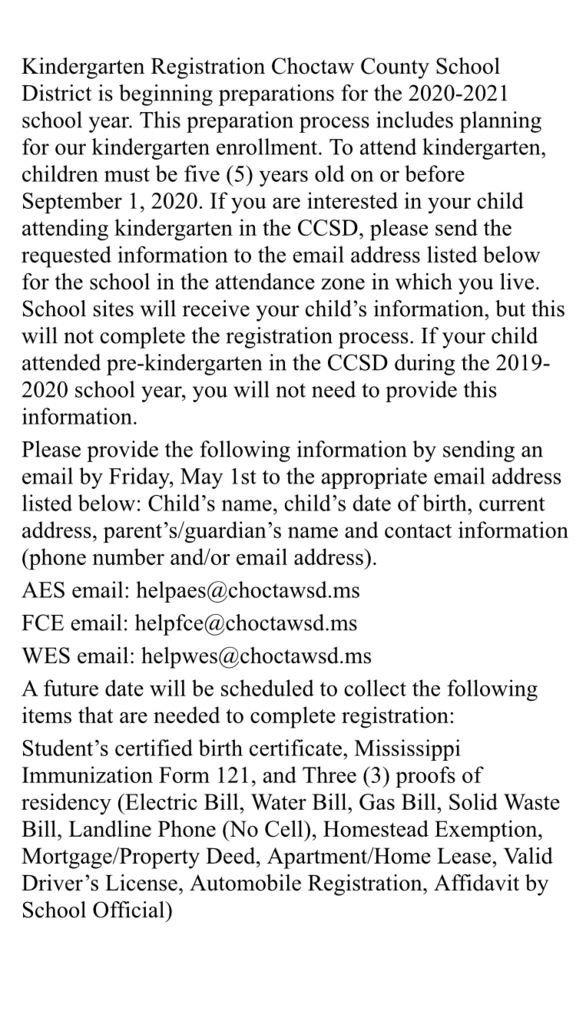 Kindergarten registration instructions